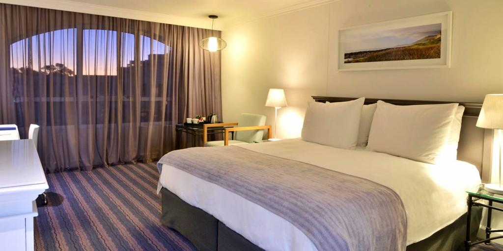 The rooms offer views of the Atlantic Ocean or the Table Mountain
