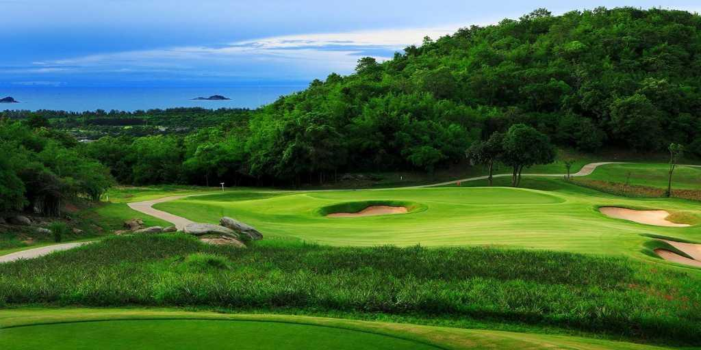 The signature 15th Hole at Banyan GC with Singoh Island in distance