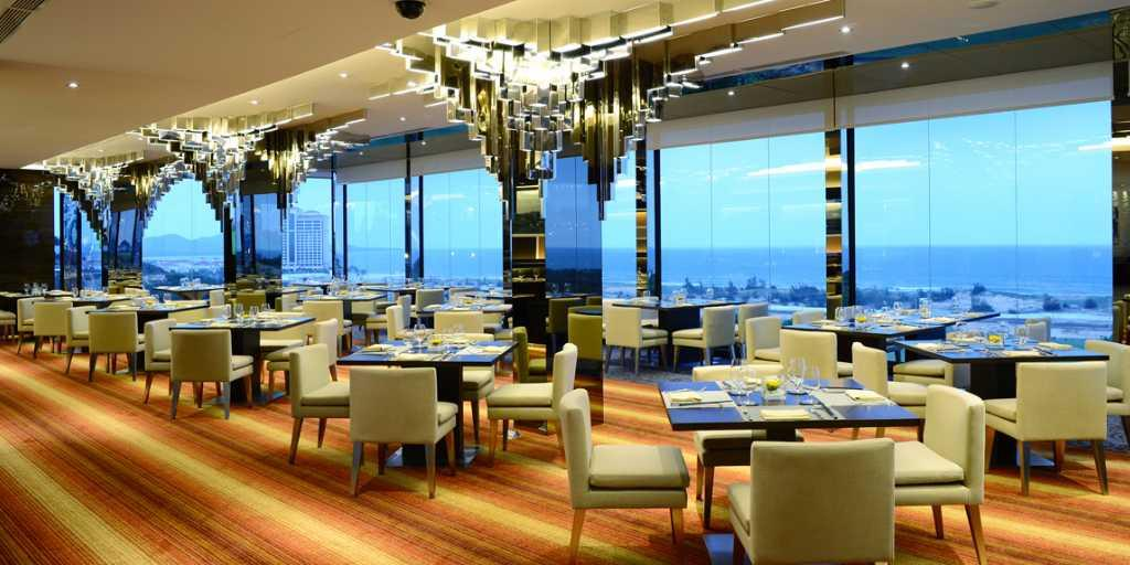 The 100-seat Infinity restaurant with spectacular views of the golf course and coastline