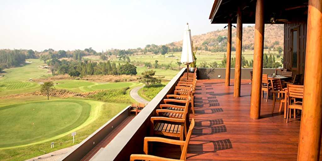 Views from the terrace restaurant overlooking the 18th: Banyan GC